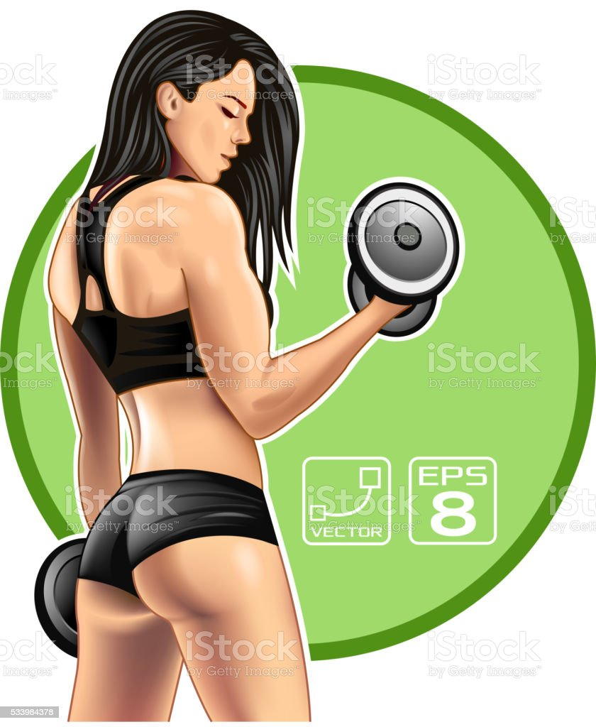 Fitness woman vector art illustration