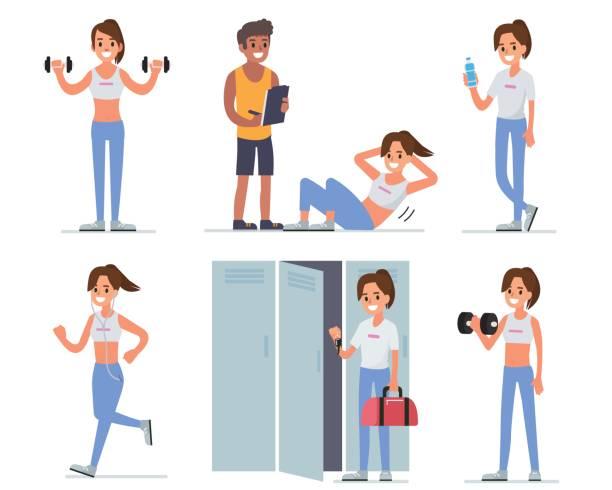 ilustrações, clipart, desenhos animados e ícones de mulher de fitness - personal trainer