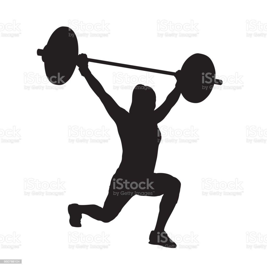 Ilustración de Mujer Fitness Con Barra Levantamiento De Pesas ...