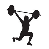 Fitness woman with barbell, weight lifting. Strength training. Lunge. Vector silhouette