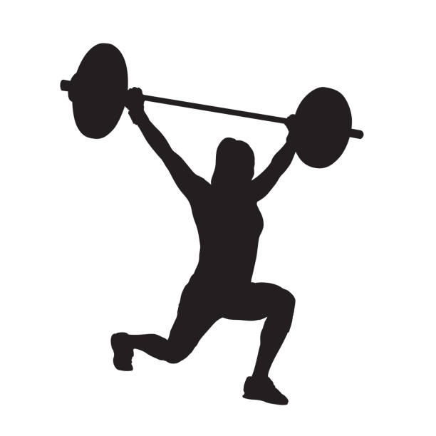 Mujer fitness con barra, levantamiento de pesas. Entrenamiento de fuerza. Estocada. Silueta de vector - ilustración de arte vectorial