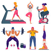 istock Fitness women different sizes doing sports 1220501533