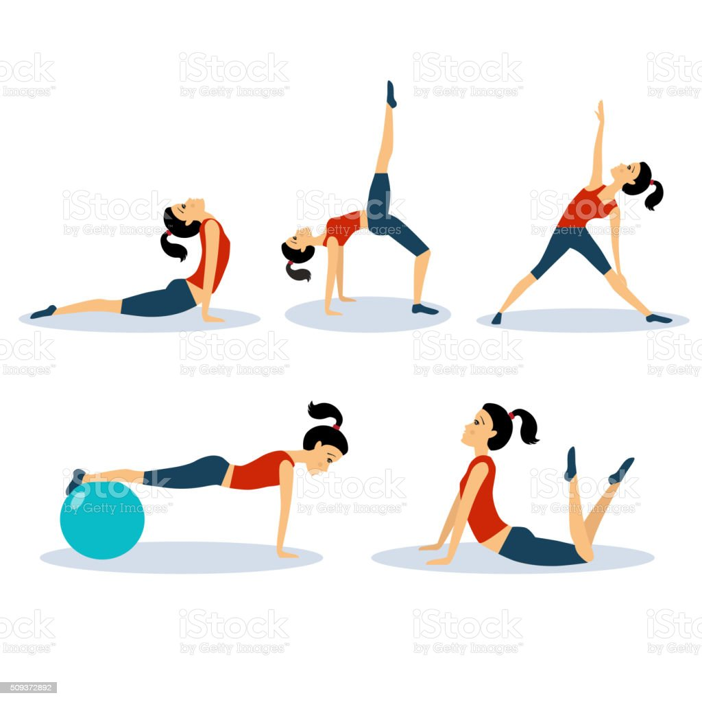 Fitness Women Workouts Set. Vector Illustration Set vector art illustration