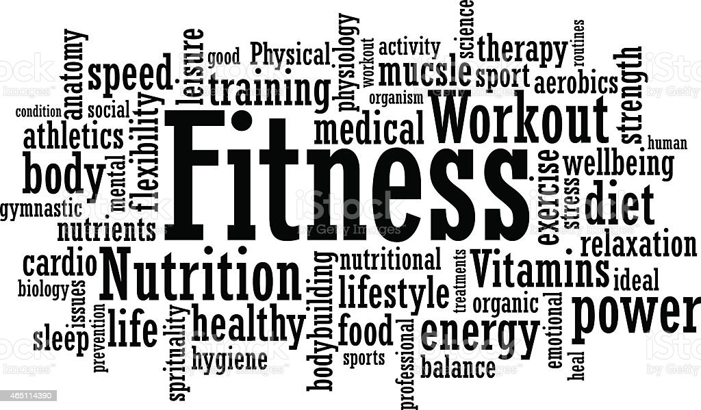 Fitness Word Cloud Illustration vector art illustration