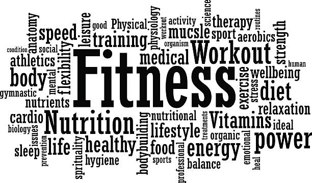 Fitness Word Cloud Illustration Fitness exercise training tag cloud vector illustration single word stock illustrations