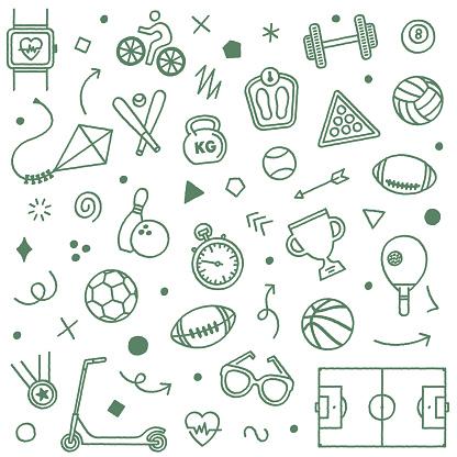 Fitness & Workout Doodle Pattern Illustration