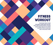 Fitness workout template design with abstract background. Modern and geometric vector illustration to use as promotion web banners for social media.