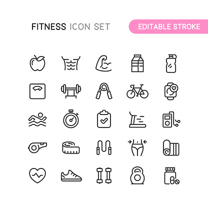 Fitness & Workout Outline Icons Editable Stoke