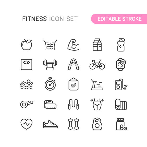 Fitness & Workout Outline Icons Editable Stoke Set of fitness and workout outline icons. Editable stroke. conceptual symbol stock illustrations