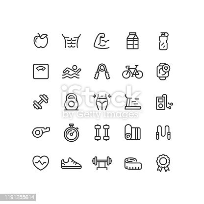 Set of Fitness & Workout outline  vector icons.