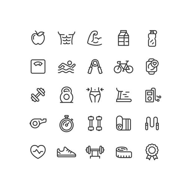 stockillustraties, clipart, cartoons en iconen met fitness & workout overzicht pictogrammen - woman water