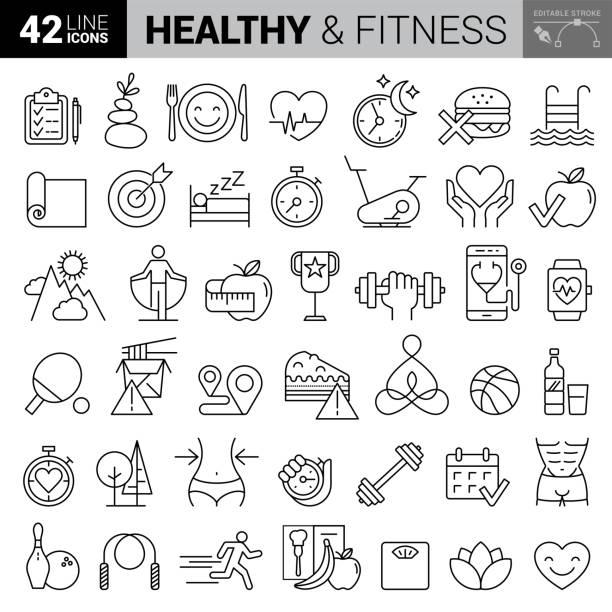 健身 + 鍛煉 - 一組細線向量圖示庫存插圖 - 健康飲食 幅插畫檔、美工圖案、卡通及圖標
