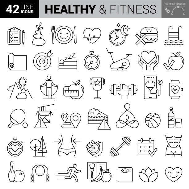 Fitness & Workout - set of thin line vector icons stock illustration Fitness & Workout - set of thin line vector icons stock illustration healthy lifestyle stock illustrations