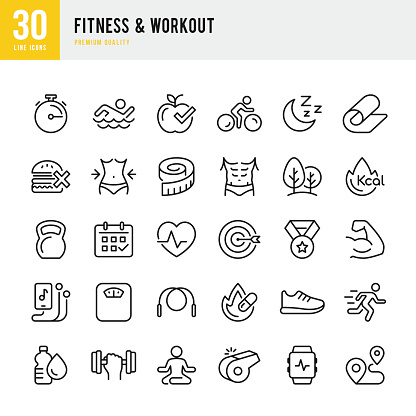 Fitness & Workout - set of thin line vector icons