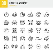 Set of Fitness & Workout thin line vector icons.