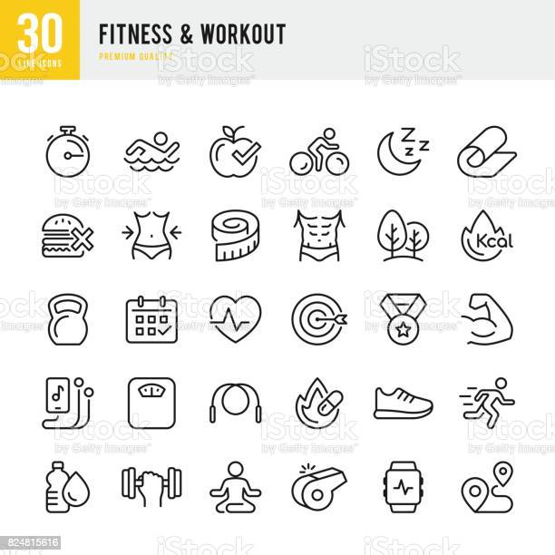 Fitness workout set of thin line vector icons vector id824815616?b=1&k=6&m=824815616&s=612x612&h=llizr0hne1vb80ccbnx82btijgumrsiazavh4sqyxng=