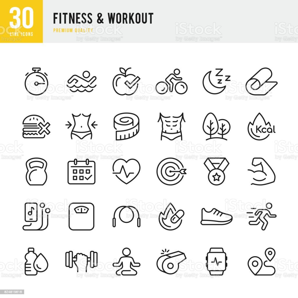 Fitness & Workout - set of thin line vector icons - illustrazione arte vettoriale