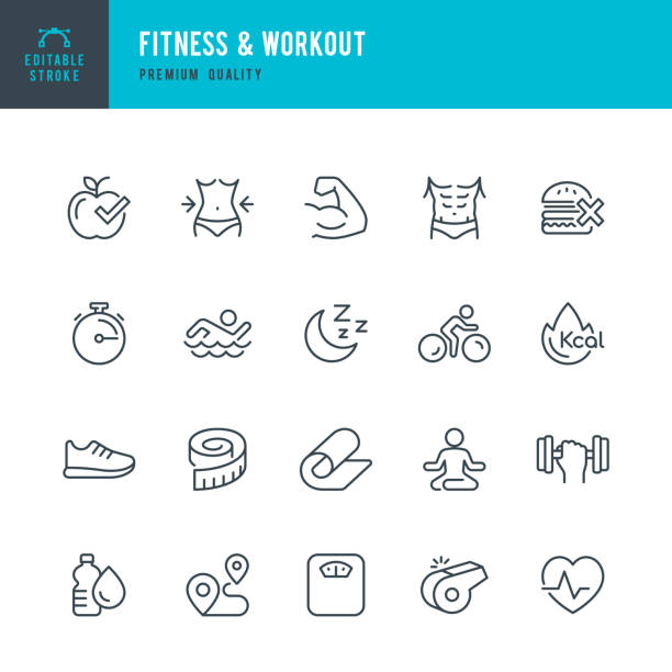 fitness & workout - set of thin line vector icons - waga opis fizyczny stock illustrations