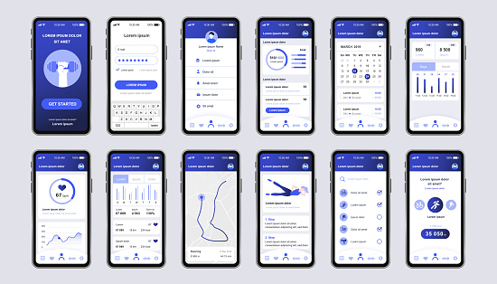 Fitness workout unique design kit for mobile app. Fitness tracker screens with running route planner, analytics and heart rate monitor.