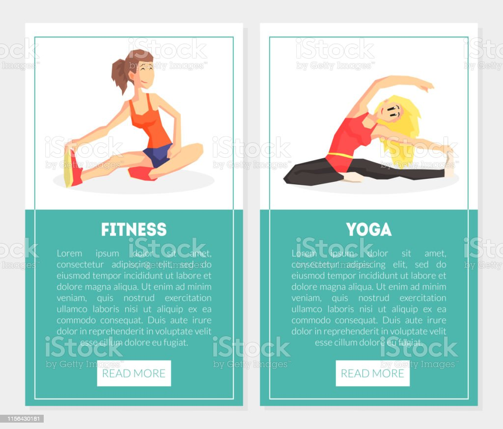 Fitness Yoga Banner Templates Set With Exercising Girls Design Element Can Be Used For Landing Page Mobile App Website Vector Illustration Stock Illustration Download Image Now Istock