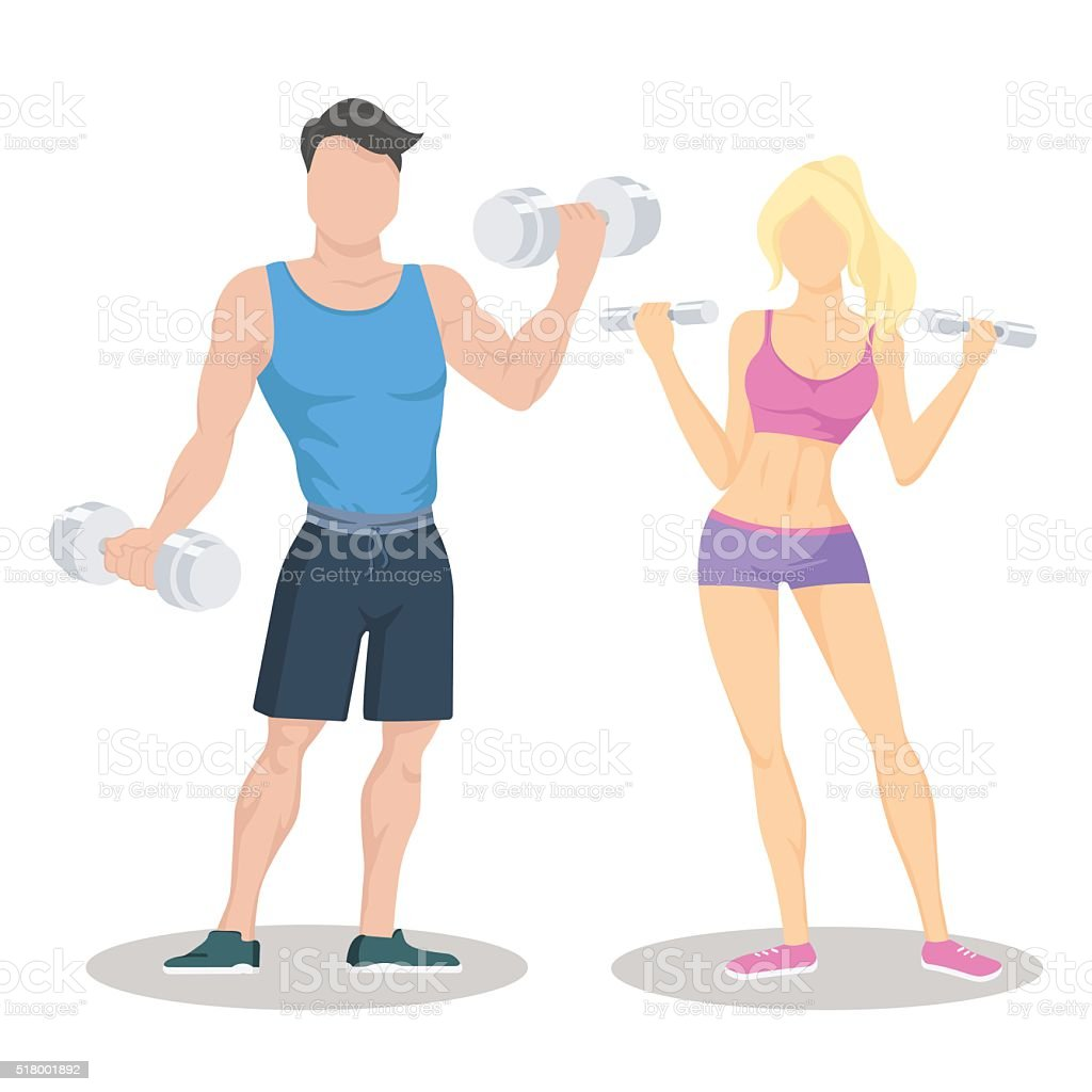 Fitness young sporty couple with dumbbells. Fit couple. Workout partners. vector art illustration