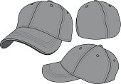 Fitted baseball hat template. Panels, eyelets, seams, underbill and top button are all individual objects.