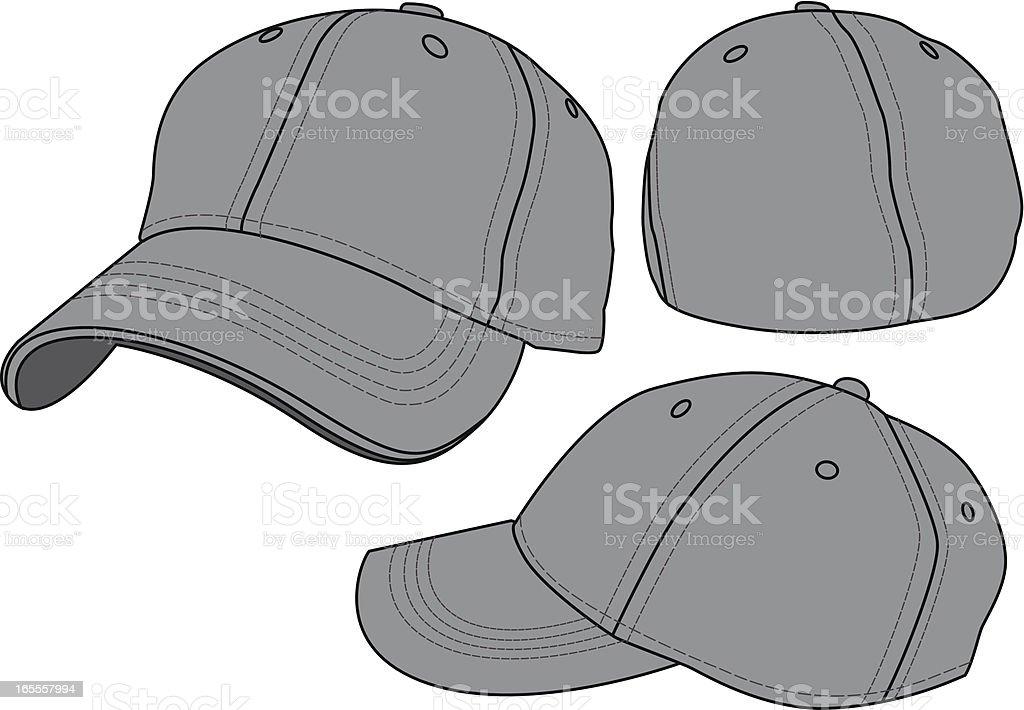 Fitted Baseball Hat Template vector art illustration