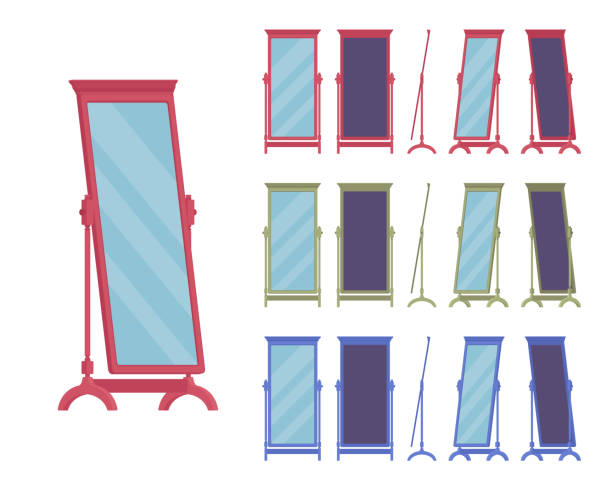 Fitting floor mirror, full-length dressing room standing, classic frame design Fitting floor mirror, full-length dressing room or bedroom standing decorative element in a bright wooden design. Full body horizontal Vector flat style cartoon illustration, different view and color bedroom silhouettes stock illustrations
