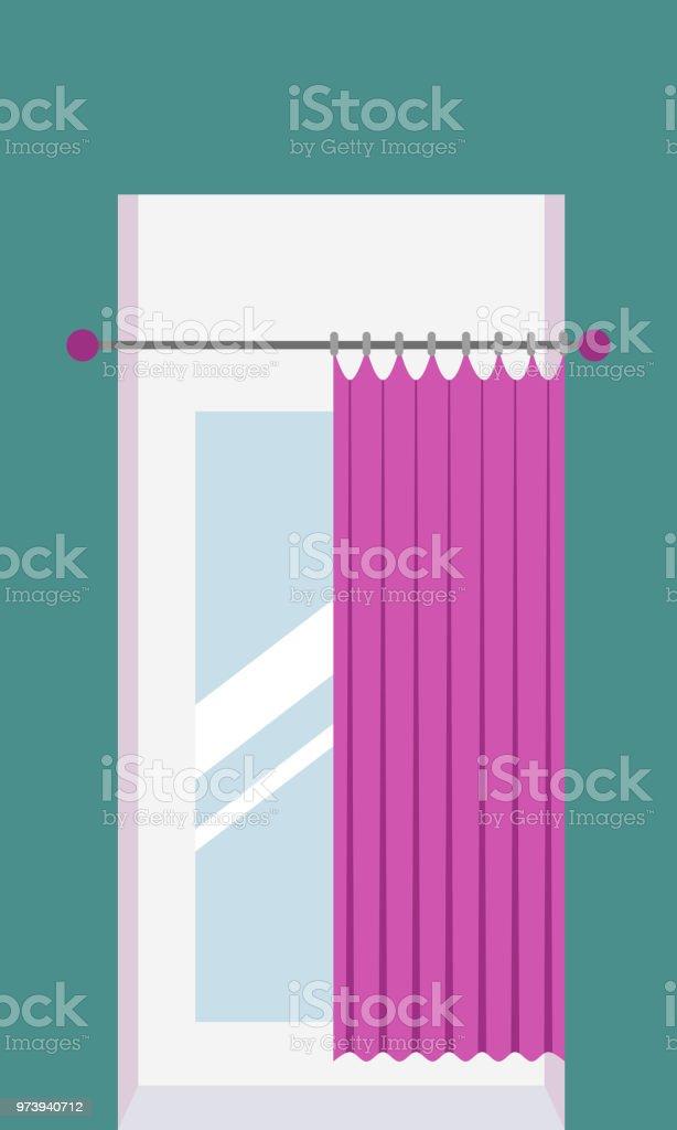 cabine dessayage avec rideaux et miroir dans un magasin de vtements cabine  dessayage avec 71e12ad242c