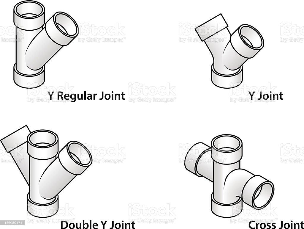 PVC fittings vector art illustration