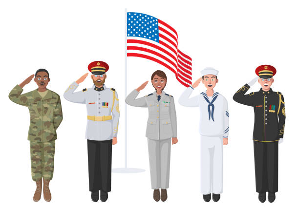 Five American Soldiers in Uniform Five American Soldiers in Uniform. May be used for Memorial Day, Veterans Day, Independence Day Events. Material for Poster, Banner, Website. military uniform stock illustrations