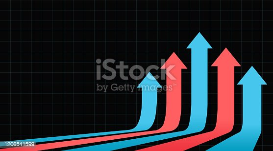 118386322 istock photo Five arrows moving up on a dark background. Stock market up arrows. 1206541599