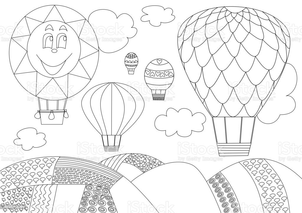 Bes Balon Gokyuzunesiyah Ve Beyaz Ucan Kroki Stok Vektor Sanati