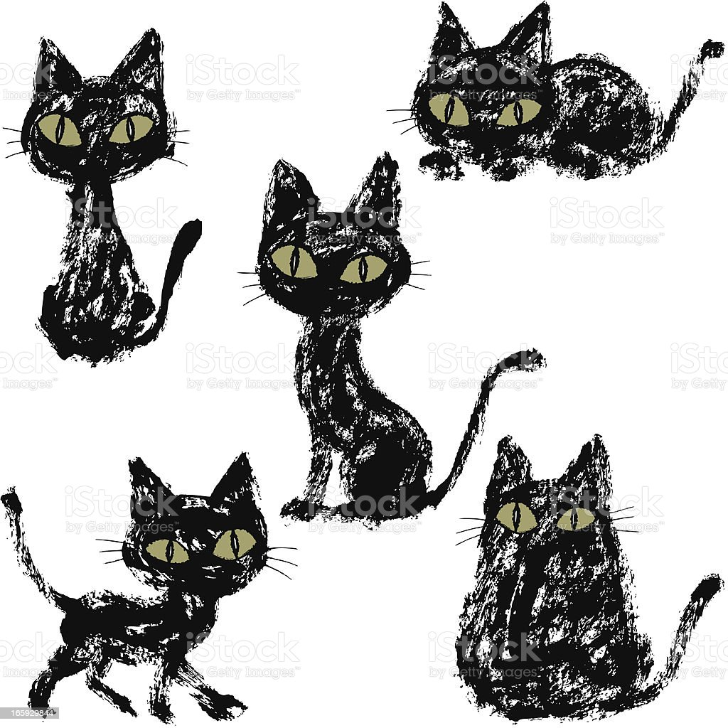 Five black cats royalty-free stock vector art