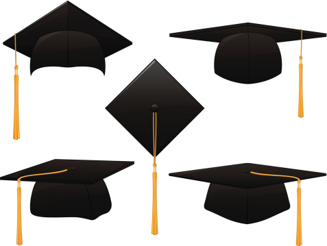 Five black graduate hats in different positions
