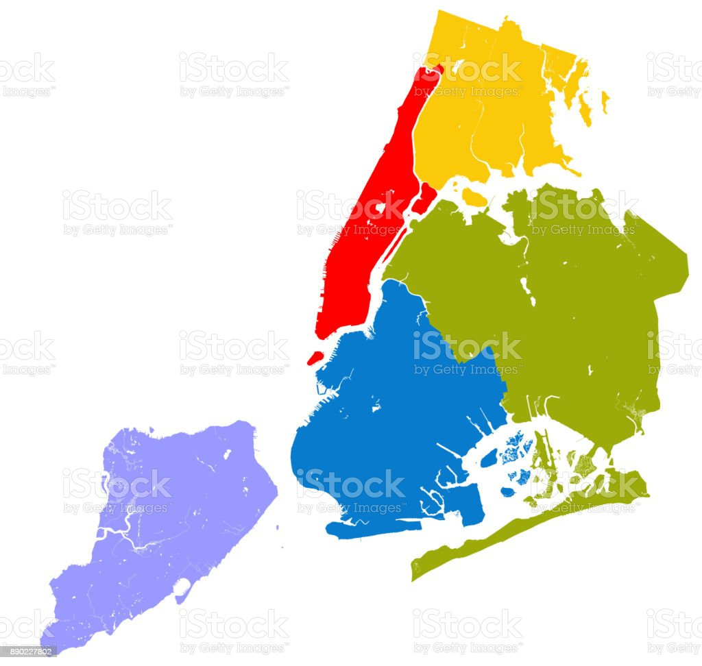 Five boroughs of NYC. vector art illustration