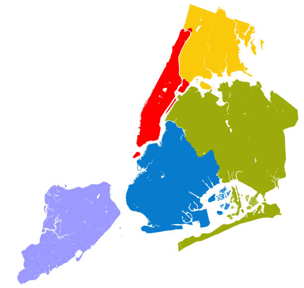 five boroughs of nyc. - new york map stock illustrations, clip art, cartoons, & icons