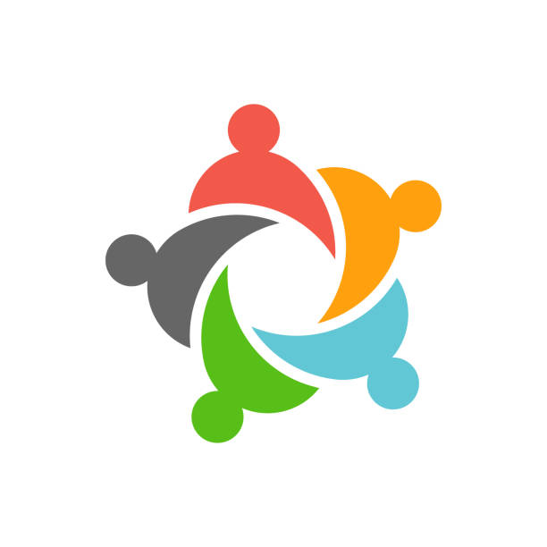 Five business teamwork people logo design Concept of business people for info graphic and identity five people stock illustrations