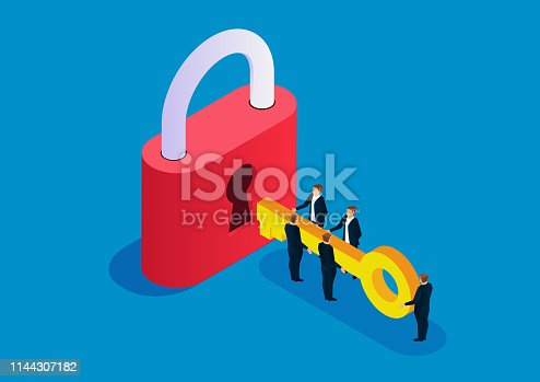Five businessmen holding keys to open big locks
