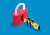 Five businessmen holding keys to open big locks