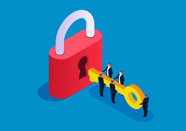 Five businessmen holding keys to open big locks Five businessmen holding keys to open big locks unlocking stock illustrations
