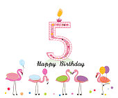 Five candle. Happy fifth birthday candle letter. Exotic birds. Set of different poses flamingos. Colorful flamingo