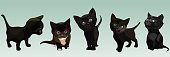five cartoon cute black kitten in different poses