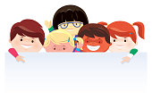 vector illustration of five children gathering and presenting
