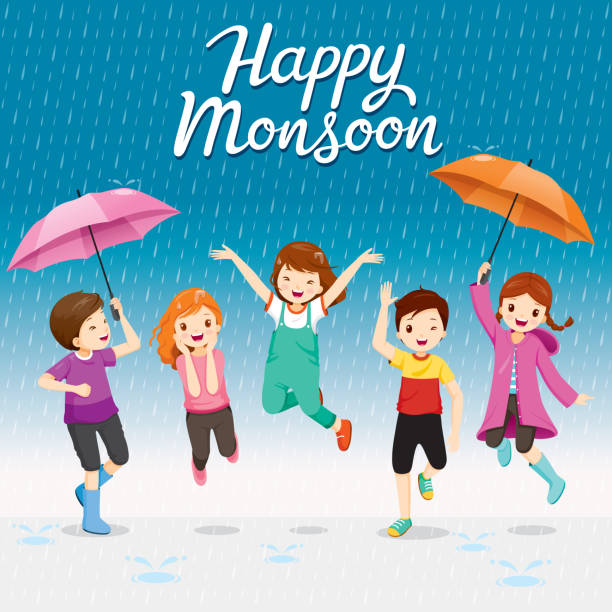 five children with umbrella and raincoat jumping in the rain playfully - kids playing in rain stock illustrations, clip art, cartoons, & icons