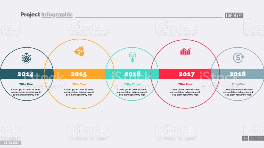 Five Circle Timeline Diagram Template Stock Vector Art More Images