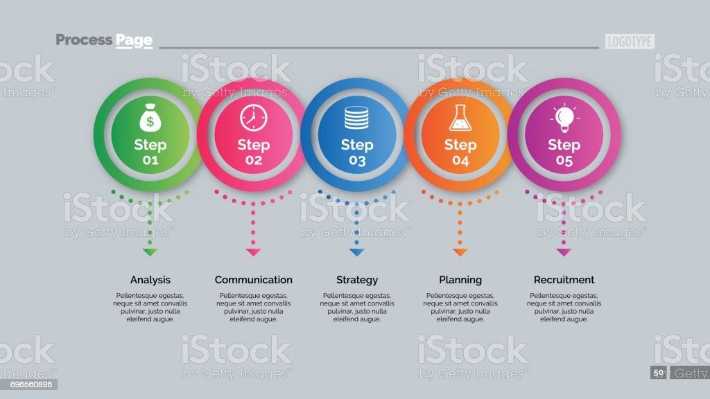 Five Circles Points Diagram Slide Template royalty-free five circles points diagram slide template stock illustration - download image now