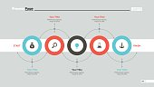 Five circles process chart slide template. Business data. Workflow, diagram. Creative concept for infographic, presentation, report. Can be used for topics like planning, production, research.
