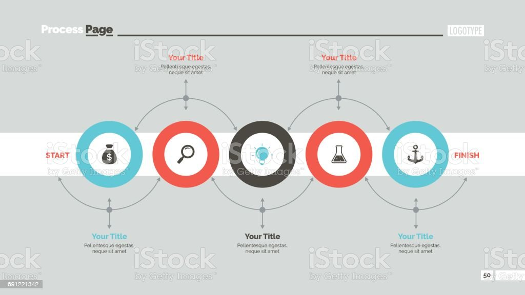 Five Circles Workflow Slide Template vector art illustration