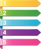 Five colorful banners with digits